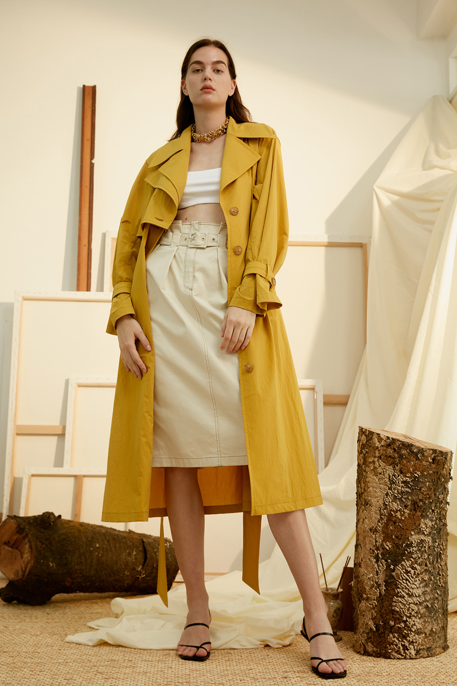 Yellow Oversized Button Loop Detailed Trench Coat