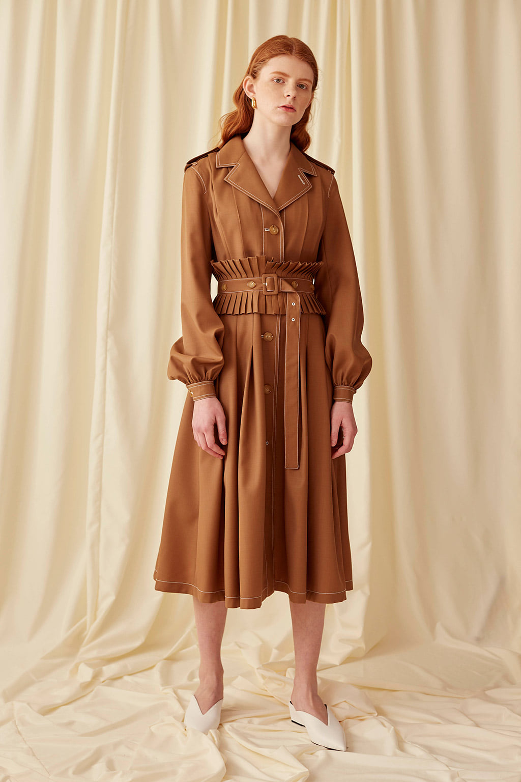 Camel Pleated belted Coat