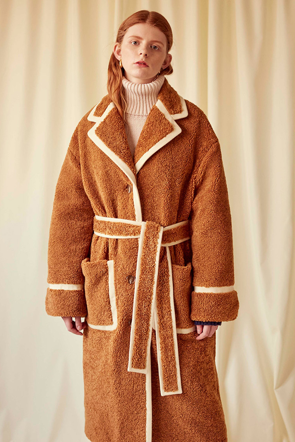 Ivory Wool trimmed Camel Faux fur Coat
