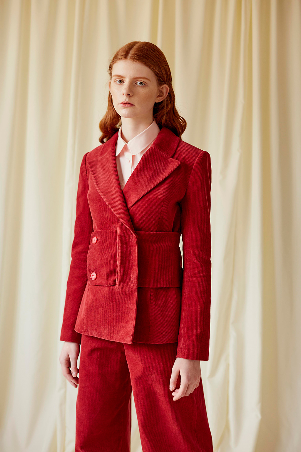Red Corduroy Double-breasted Jacket with Side Belt
