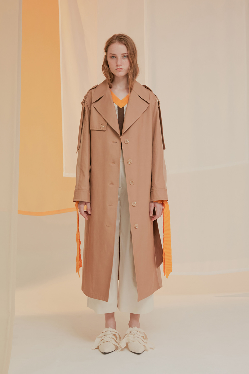 Colour Blocked Beige Trench Coat