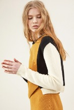 Yellow Asymmetric Raccoon and Wool-Blend Sweater