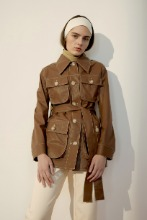 Brown Pocket-Detail Belted Coated Cotton Jacket